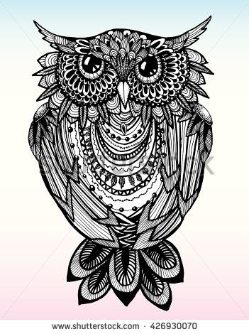 Portrait Of An Owl Owls Head Abstract Bird Print Profile Decorative Stylized Line Art Drawing By Hand Black And W Owls Head Abstract Owl Head Abstract