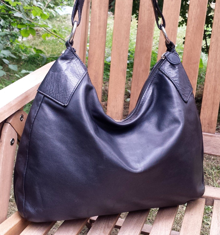 Large Leather Hobo Tote Bag Osprey By Graeme Ellisdon Black
