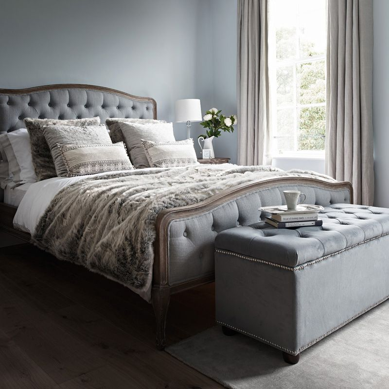 Chantal Bed Super King Grey Linen Master Bedroom Grey