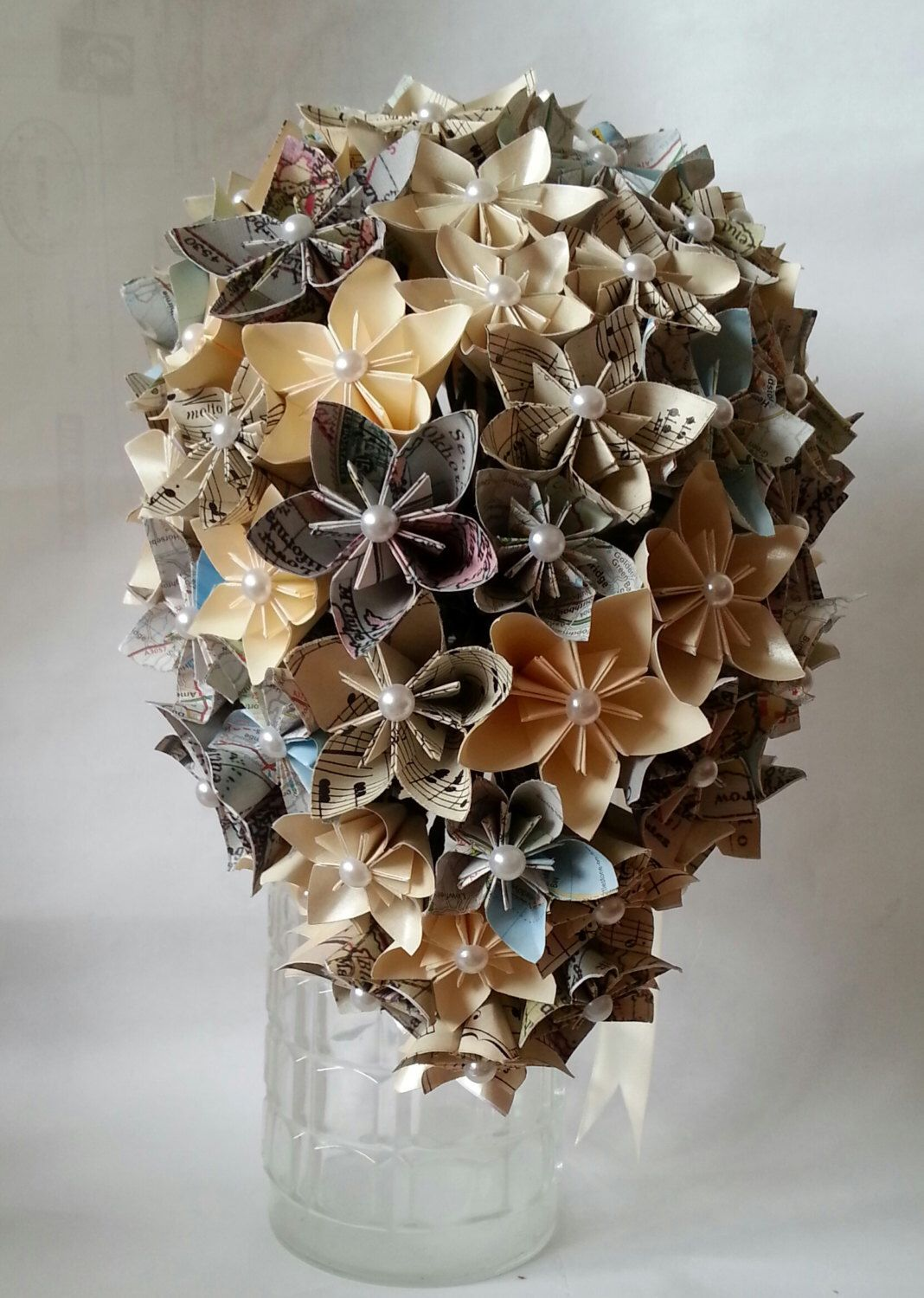 Paper Flower Origami Paper Bouquet Wedding Vintage Maps Music Sheet
