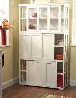 Stackable Storage Cabinet Sliding Doors Wood Kitchen Cupboard Antique White Wood Kitchen Stackable Storage Wood Doors