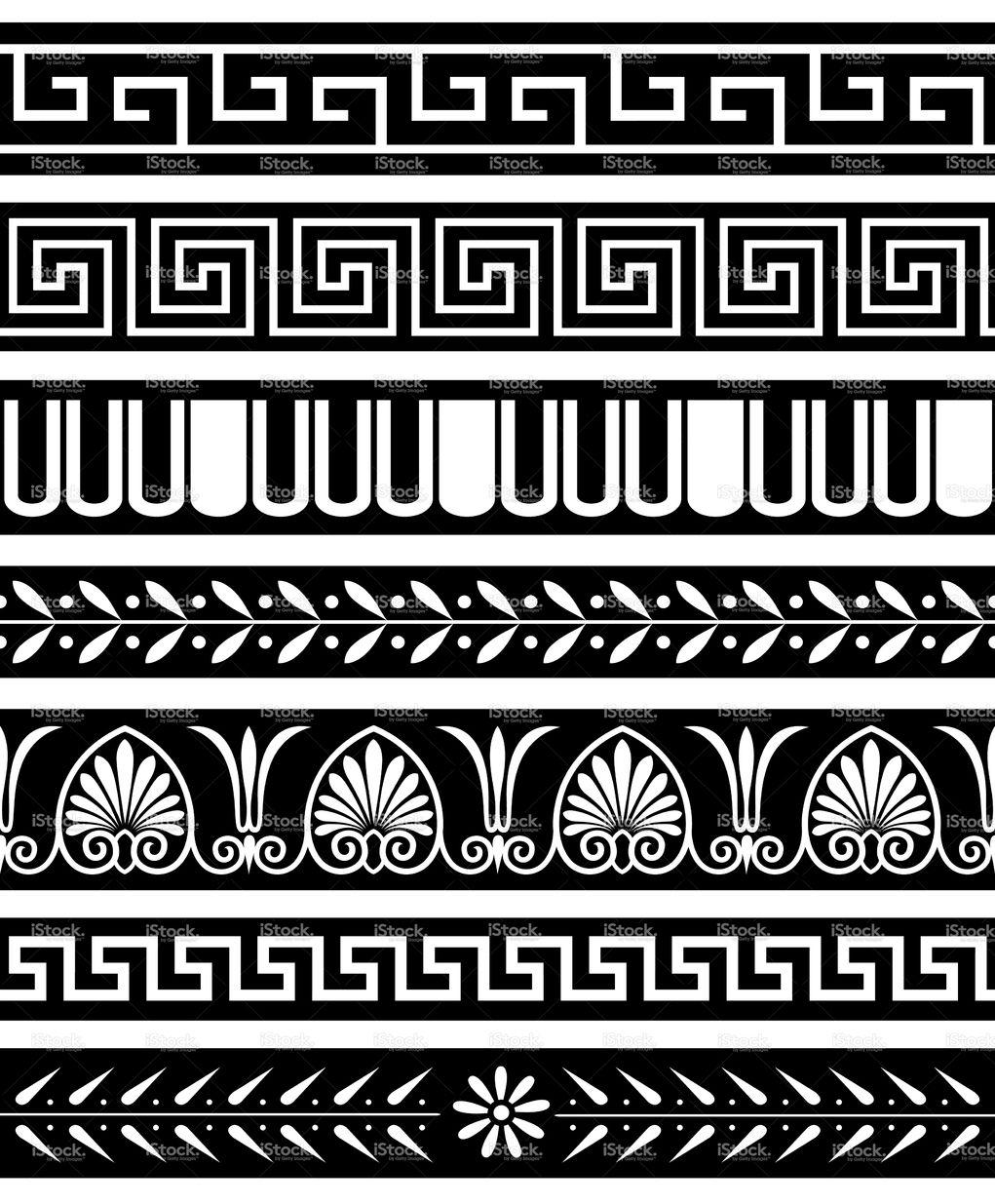 Antique Greece Style Borders Repeat Seamlessly Greek Pattern Pattern Tattoo Greek Art