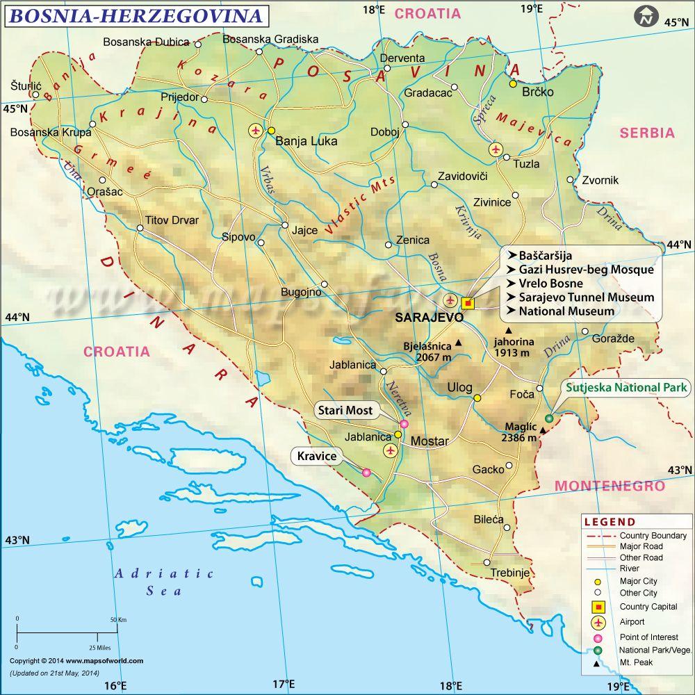 Bosnia Herzegovina Map Maps Of The World Pinterest City - Bosnia and herzegovina map