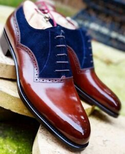 Two Tone Navy Blue Suede Oxford Maroon Plain Rounded Toe Leather Shoes