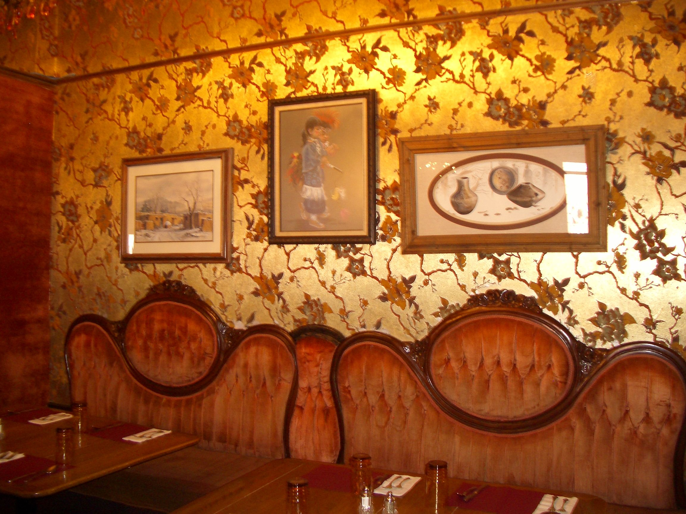 The Eklund Hotel In My Home Town Clayton Nm Puckered Velvet Booth Seats
