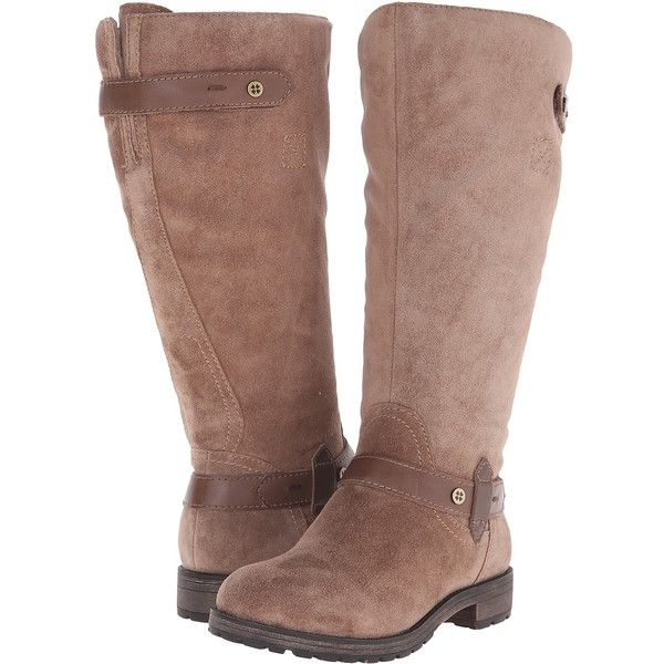 Naturalizer Tanita Wide Calf (Truffle Taupe Suede/Leather) Women's... ($80)  ❤ liked on Polyvore featuring shoes, boots, knee-high boots, taupe, ...