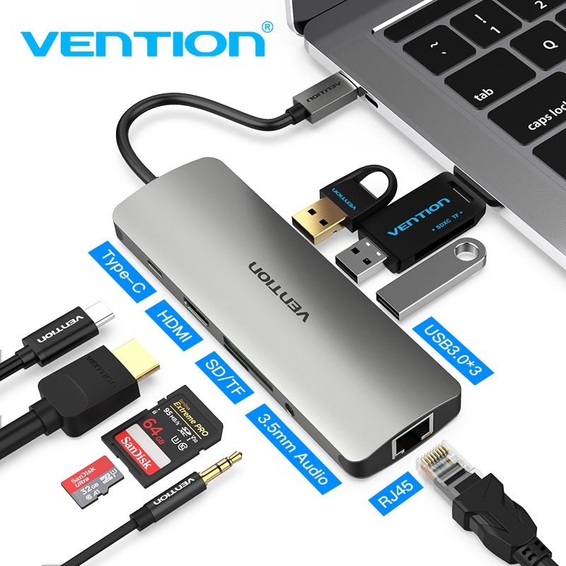 Convention Thunderbolt Dock Usb 3 Hub Type C To Hdmi Usb3 0 Rj45 Adapter For Macbook Samsung I 2020
