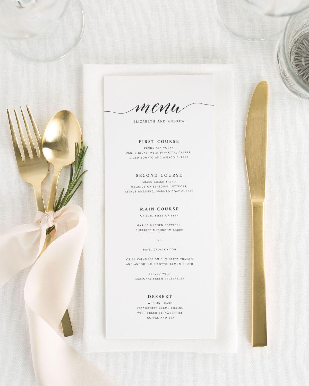Calligraphy dinner menus from shine wedding invites