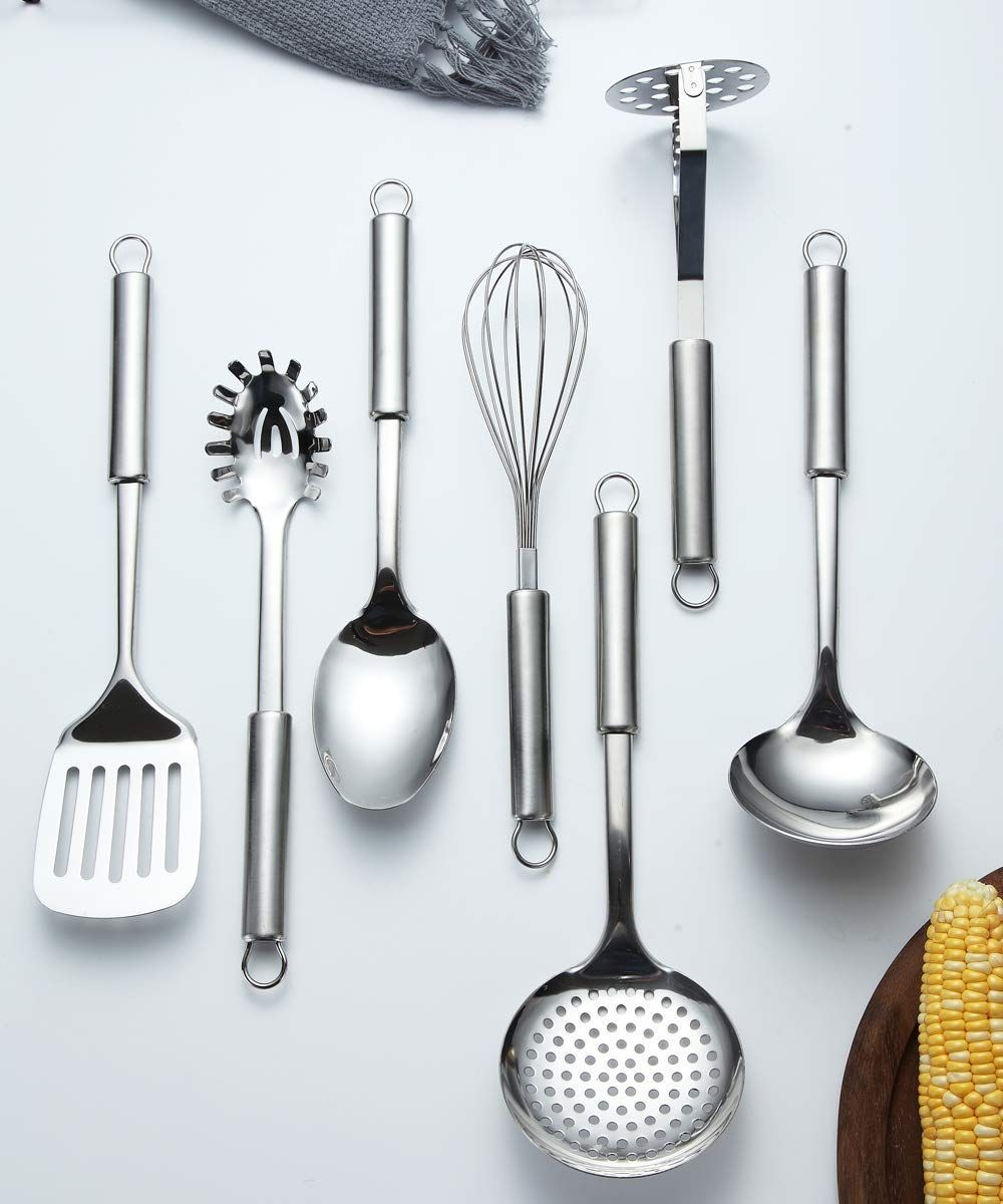 Berglander Stainless Steel Kitchen Utensil 7 Piece With 1 Stand Check Out This Great Product It Is An Affiliate Li In 2020 Cooking Utensils Set Utensil Set Utensil