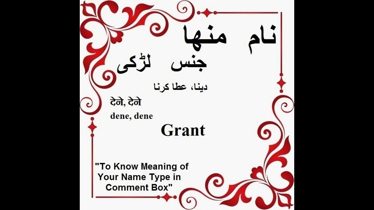 Minha Name Meaning in Urdu - Minha Arabic Name Meaning