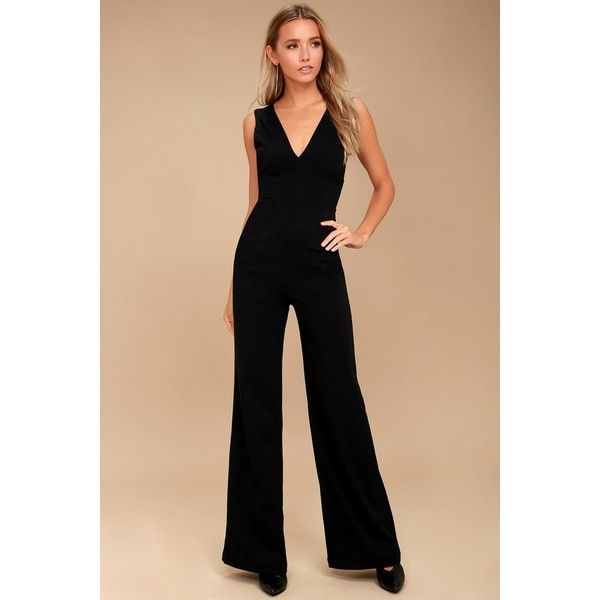 1d3aa413d6b3 Lulus Ready For It Black Sleeveless Wide-Leg Jumpsuit ( 49) ❤ liked on  Polyvore featuring jumpsuits