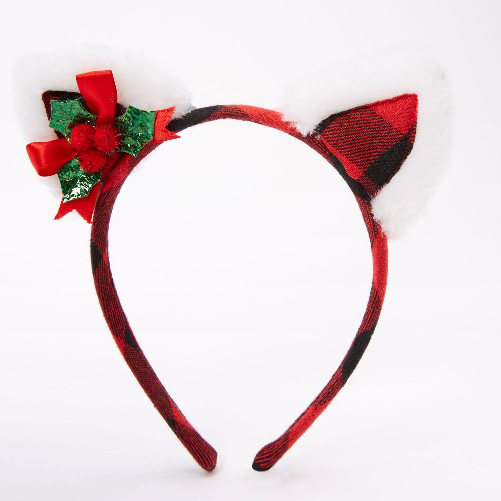 Holly Plaid Cat Ears Headband Red Cat Ears Headband Ear Headbands Cat Ears