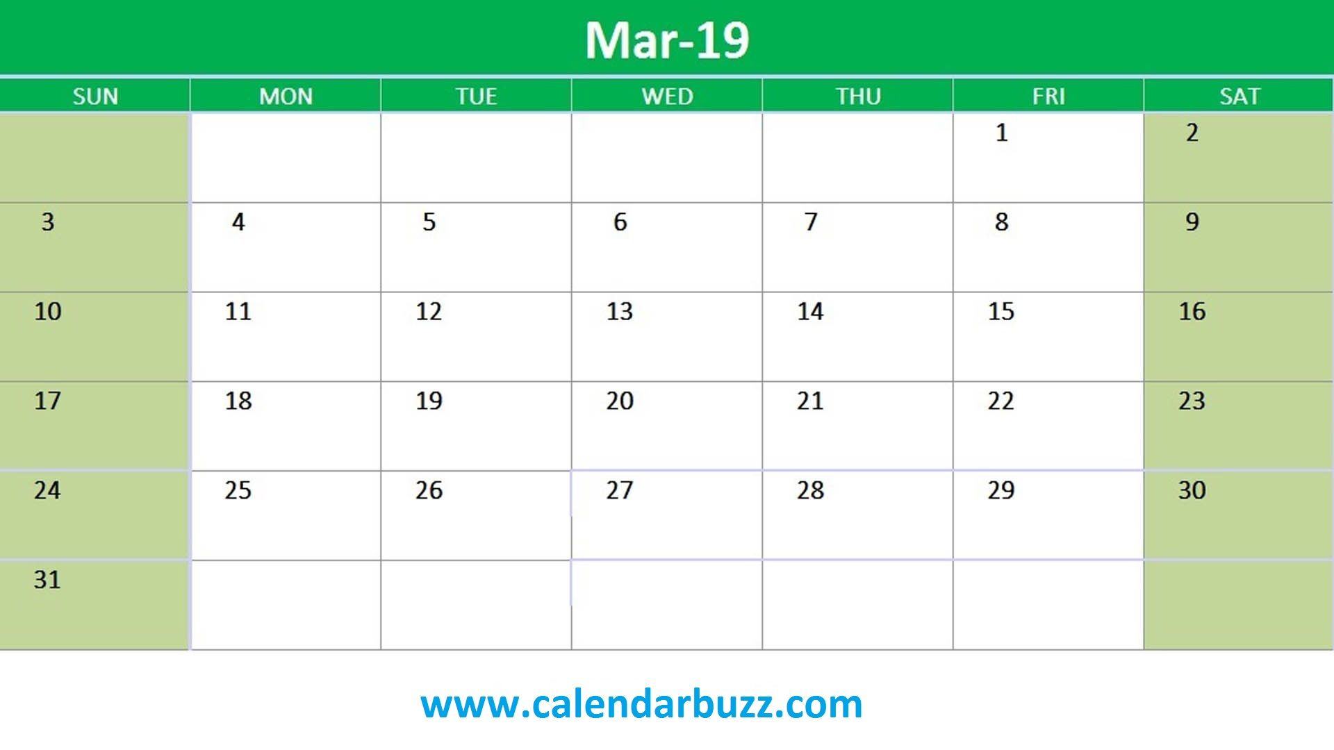 2019 Excel Monthly Calendar Printable 2019 Calendars Pinterest