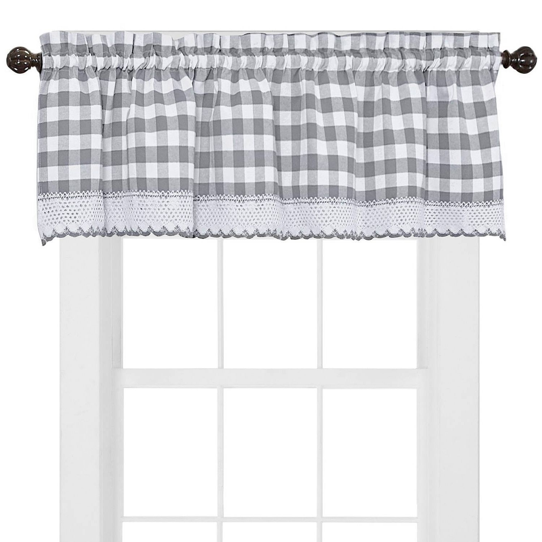 Buffalo check cotton blend grey kitchen curtain valance