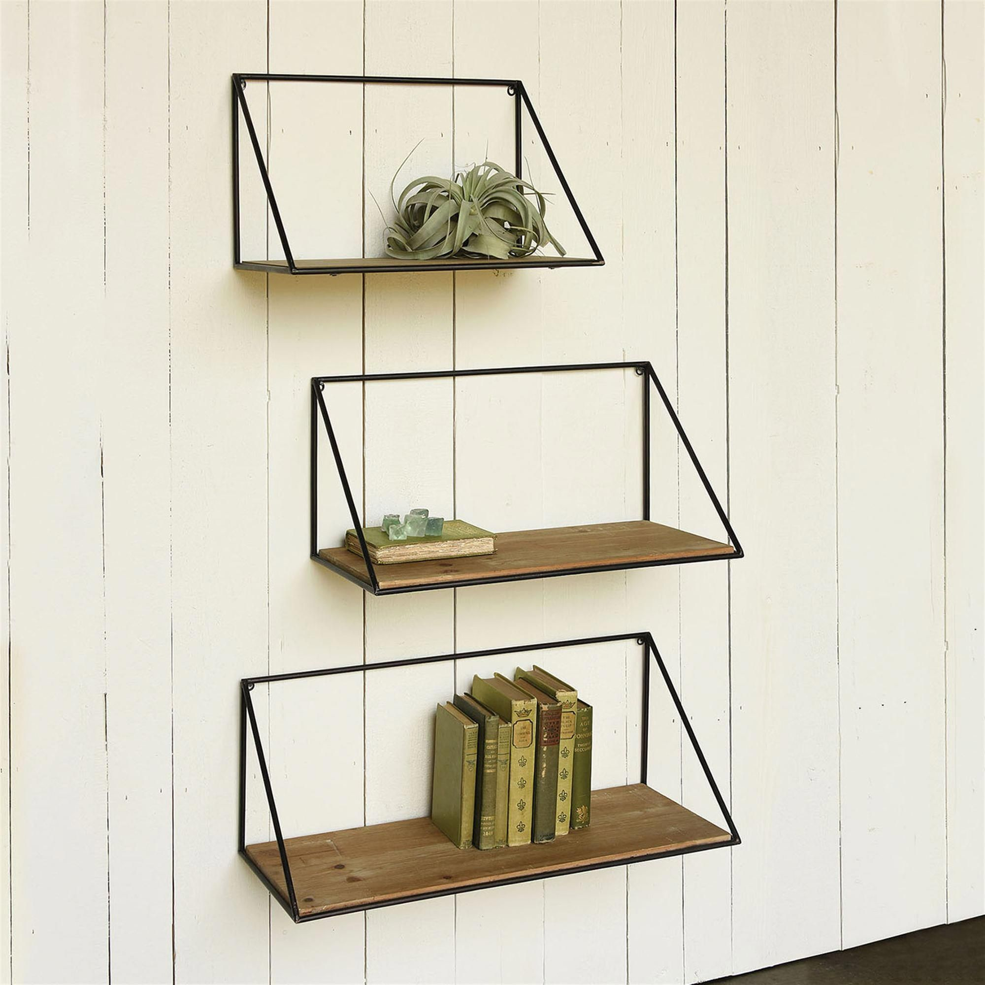 Crafted of iron and wood, the Hull Shelves have a
