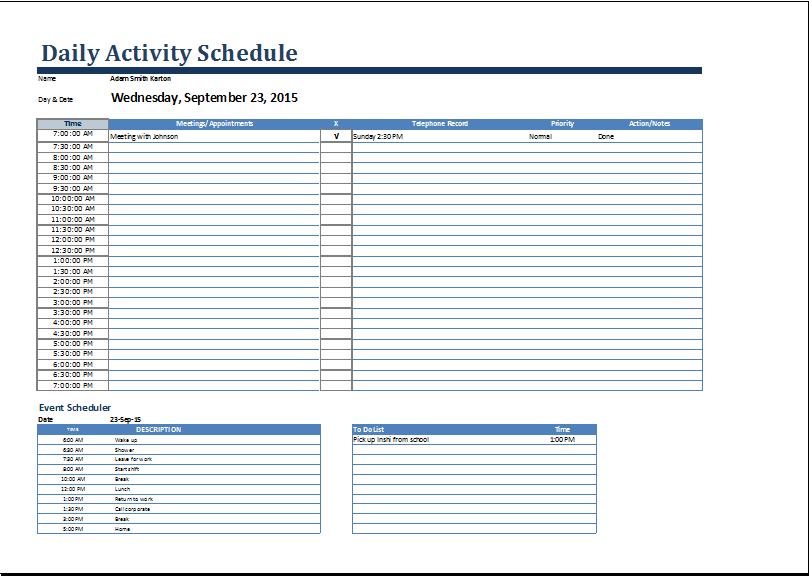 Daily Activity Schedule Form At WorddoxOrg  Microsoft Templates