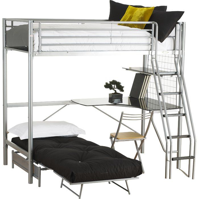 Jodi European Single L Shaped Bunk Bed With Trundle And Desk