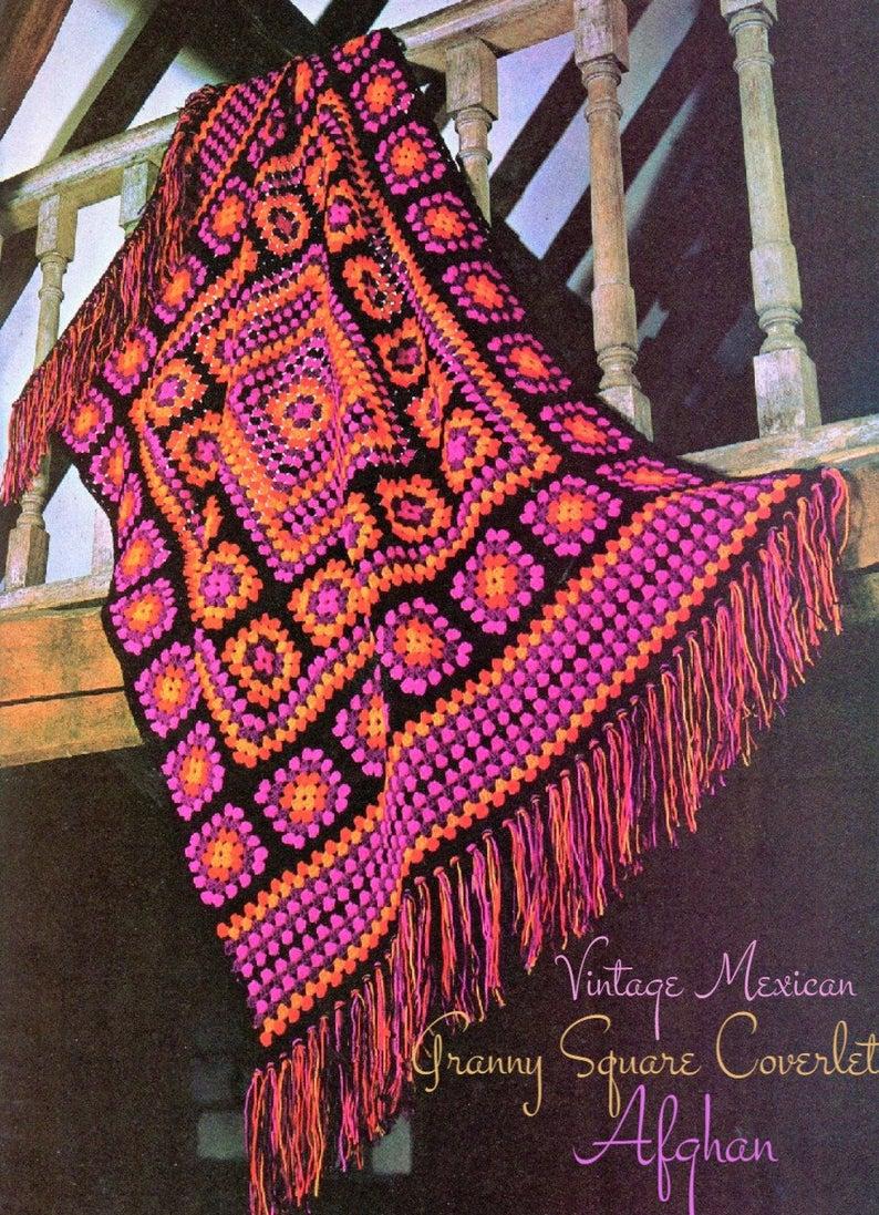 Vintage 1970/'s handmade chrocheted fringed Afghan Granny Blanket multicolor with black fringe