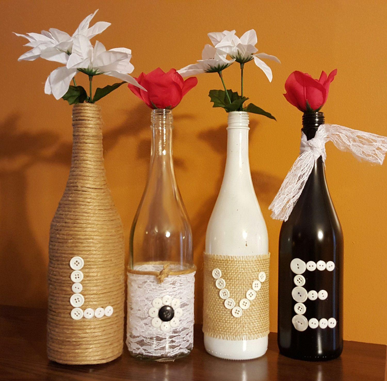 Wine bottle decor love set by SmithCountryDesign on Etsy