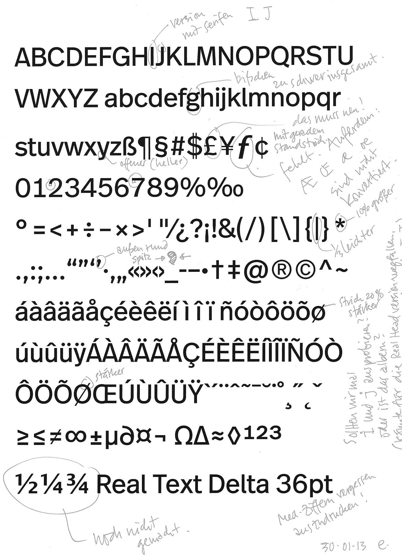 In mid-January 2013 Spiekermann passed on his digital drawings to Carrois. This is the first correction sheet dated 30/01/13 by Spiekermann, after Carrois had cleaned up his data and extended it.