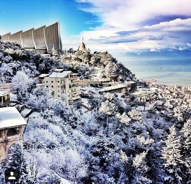 Places To Travel In December 2015: Harissa February 2015 #amazing #storm #snow #jounieh