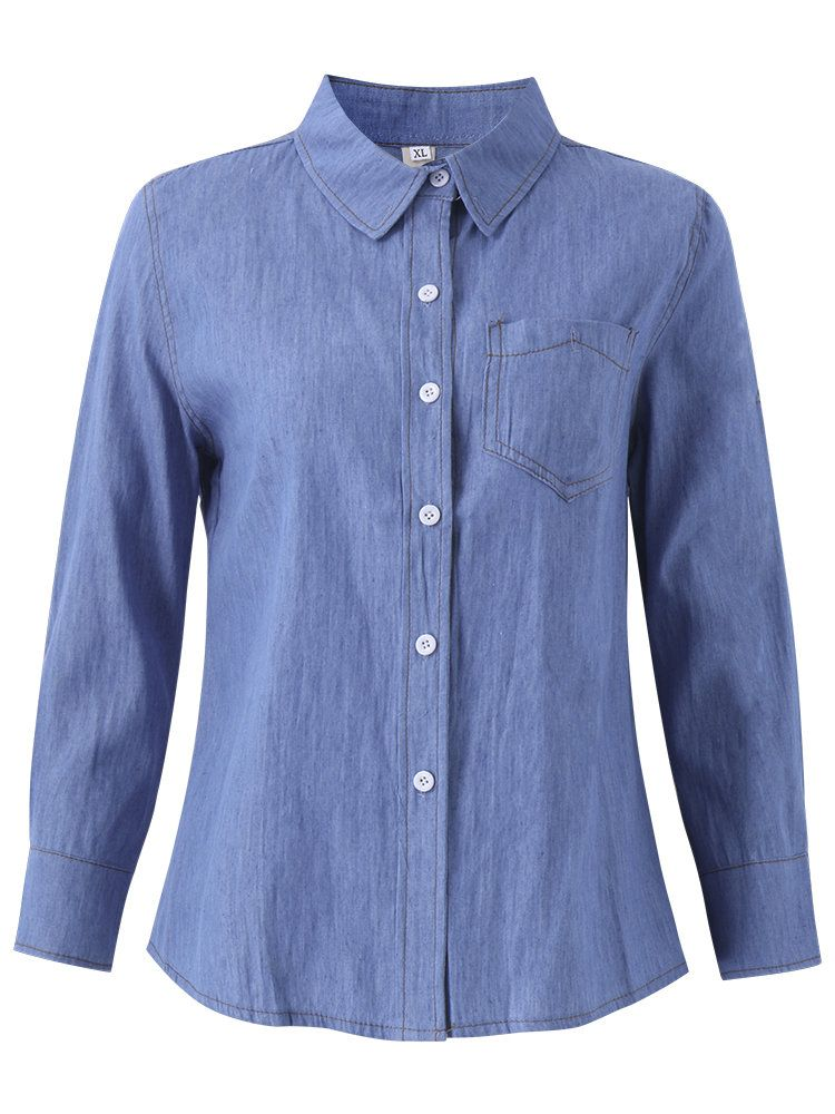 e59dec445d OL Denim Loose Pocket Casual Long Sleeve Shirts