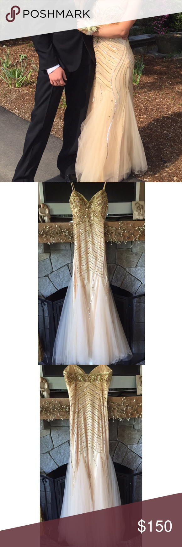 Unaltered gold beaded mermaid prom dress size dress prom prom