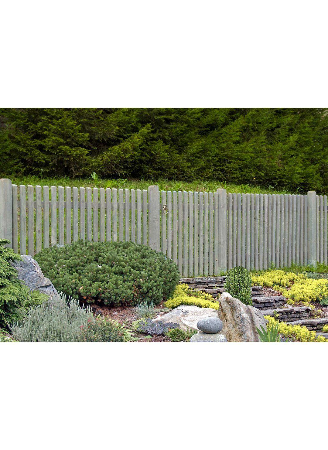 Staketenzaun Mainau Hellgrau Lasiert 180 Cm X 100 Cm Kaufen Bei Obi Zaun Garten Gartenzaun