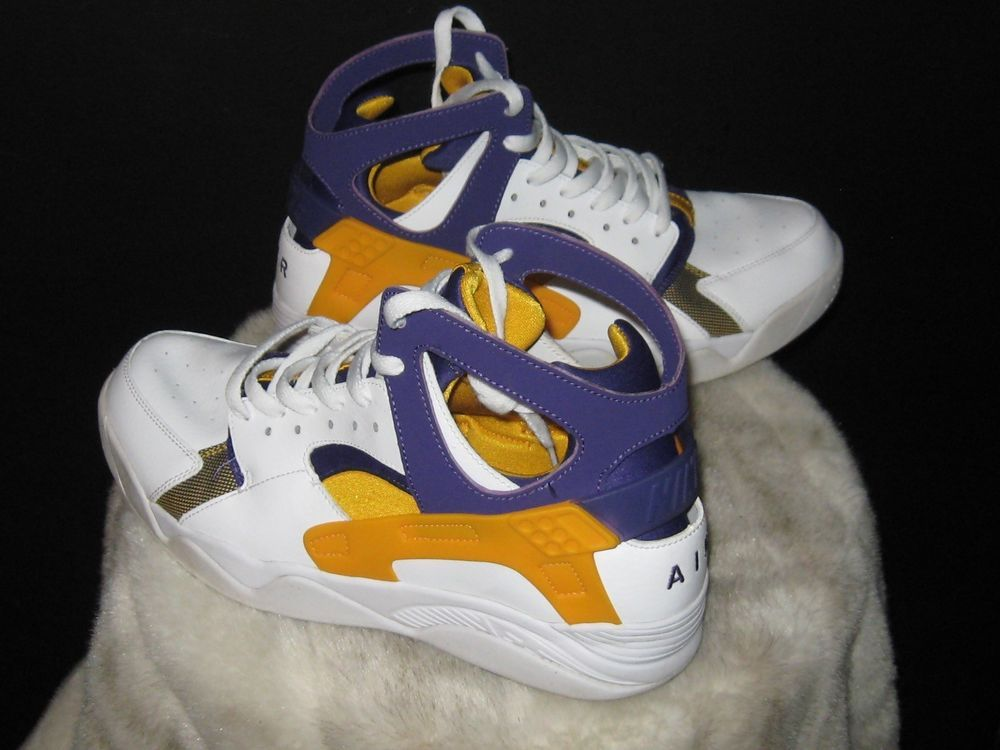 new concept e0f84 73f5f Men s Nike Air Flight Huarache Run High Sneakers Sz 10.5 LA Lakers 705005  101  Nike  BasketballShoes