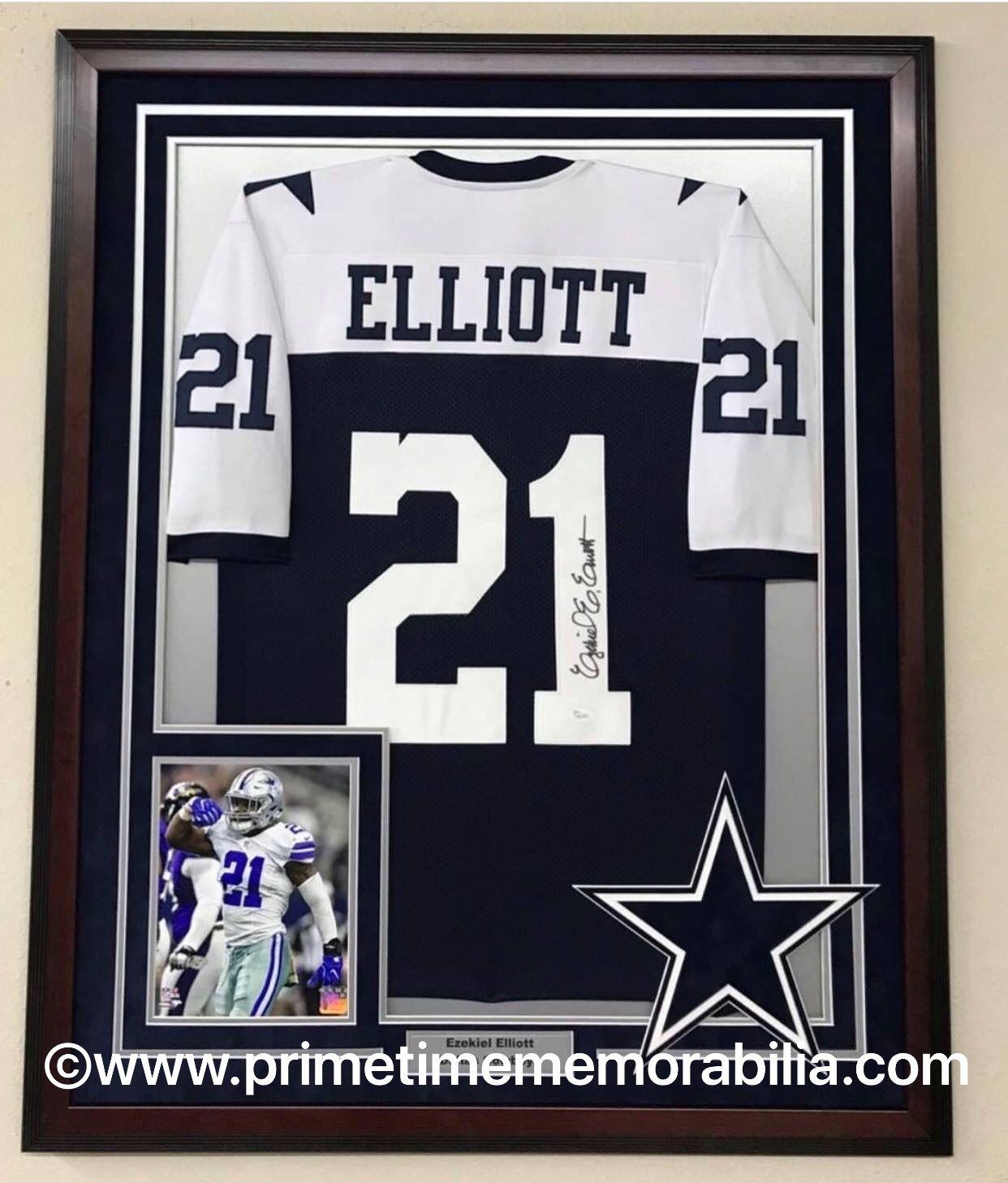 big sale 66fdc 719de Ezekiel Elliott Dallas Cowboys custom framed autographed ...