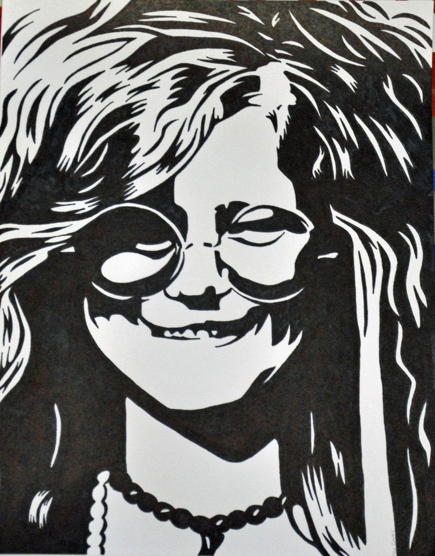 Janis Joplin Sharpie Drawing By Allenspearsart On Etsy 25 00 Rock N Roll Art Sharpie Drawings Vinyl Artwork