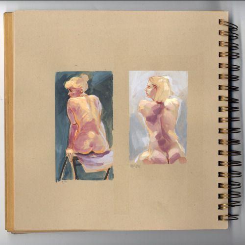 peahart:  Quelques pages d'un de mes carnets de modèle vivant.aquarelle + gouachewatercolour + gouache