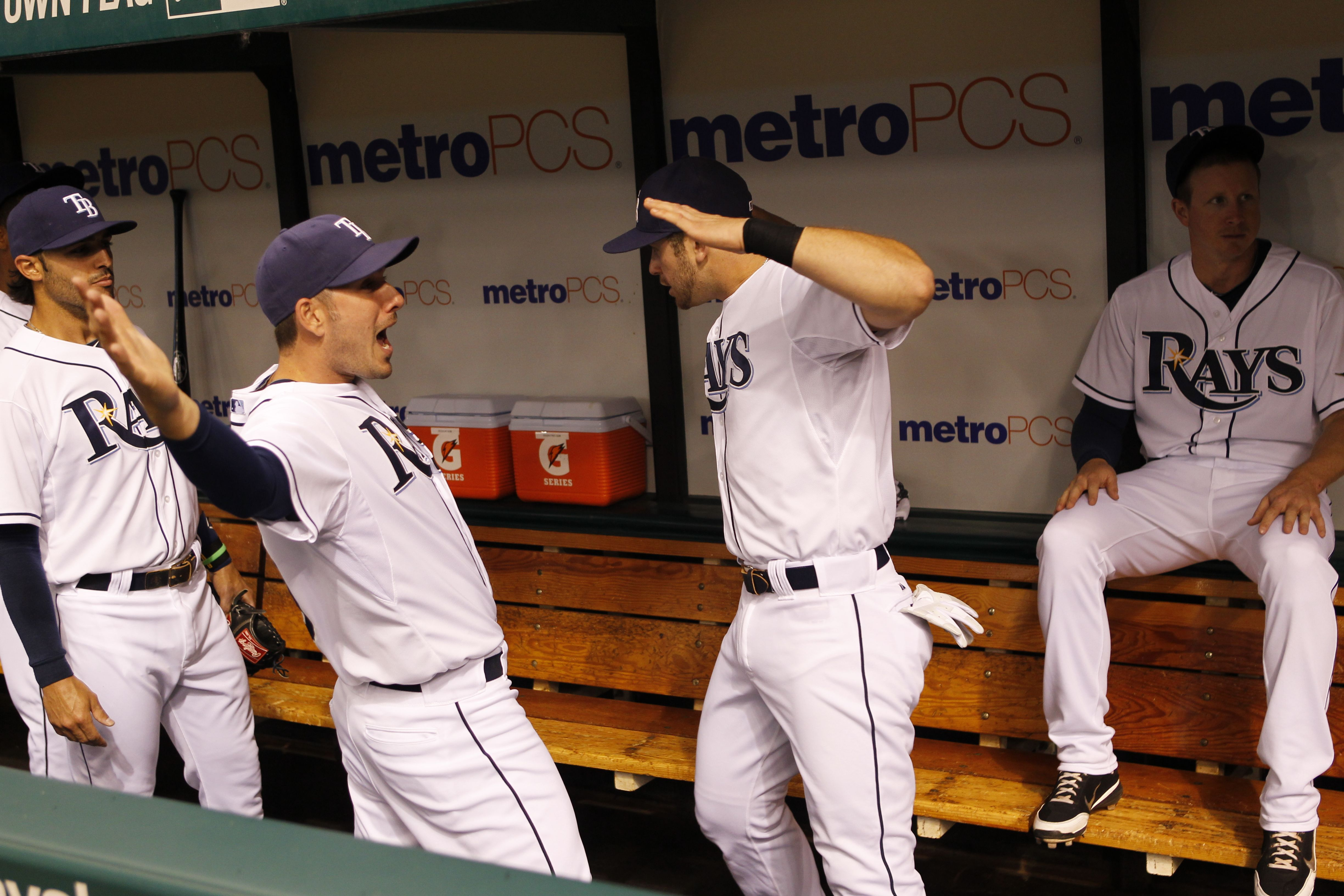 Evan Longoria Getting Pumped In The Dugout For The Game Tampa Bay Rays Rays Baseball Baseball Players