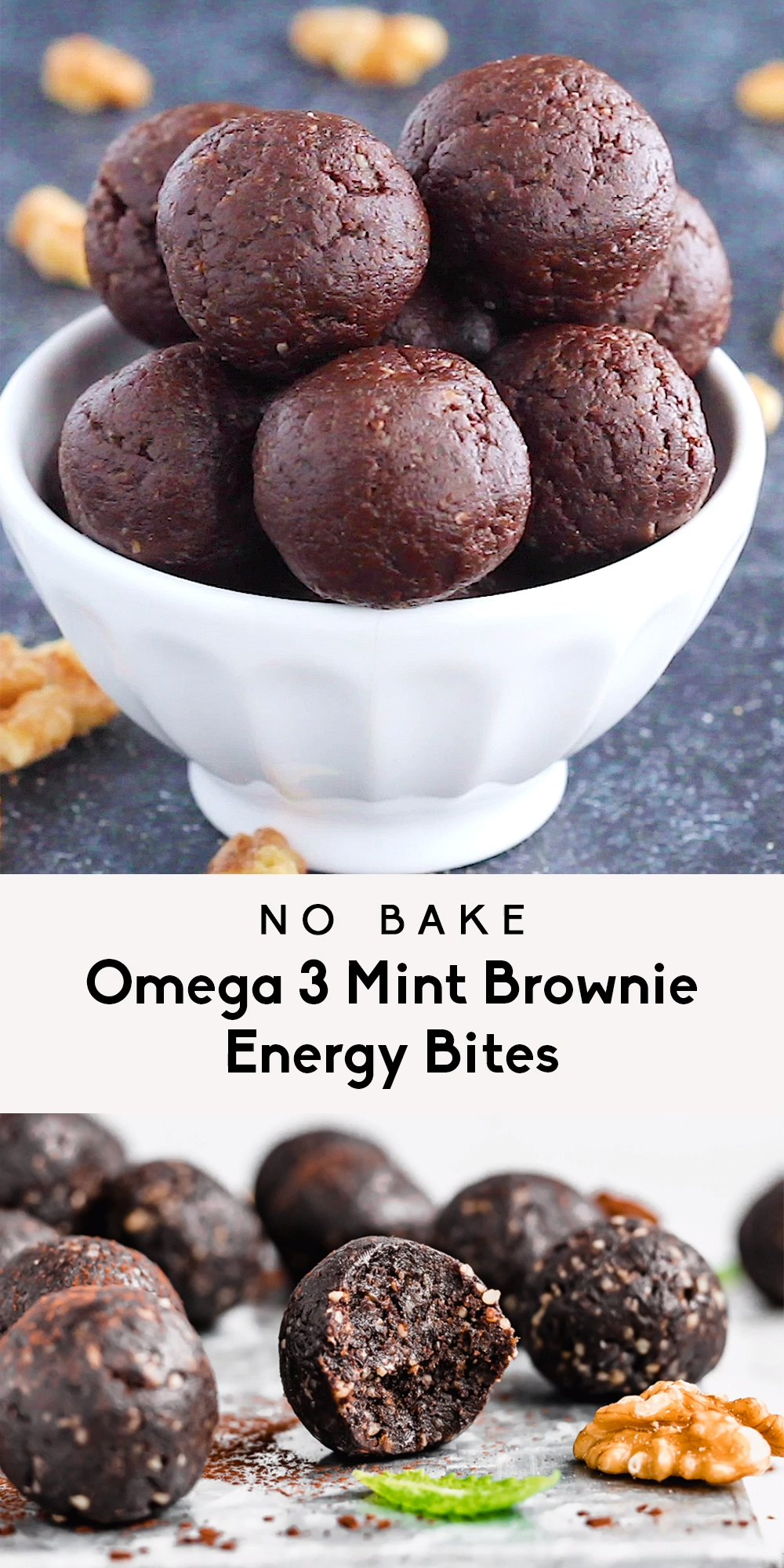 Photo of No Bake Omega 3 Mint Brownie Energy Bites,  #Bake #Bites #Brownie #Energy #Mint #Omega
