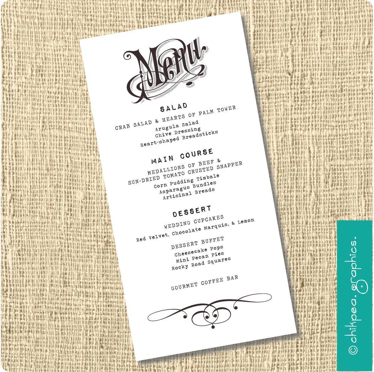 Black Tie Menu 33 75 Via Etsy Dinner Party Wedding Menu