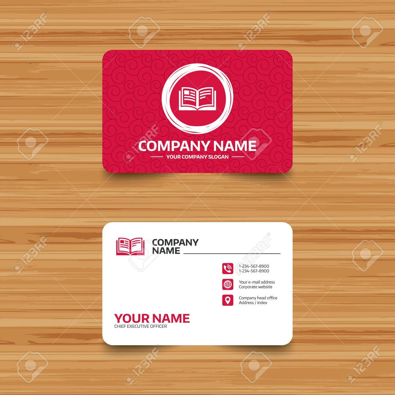 The Glamorous Business Card Template With Texture Book Sign Icon Open Book Throughout Bu In 2020 Free Business Card Templates Business Card Template Visiting Cards