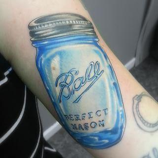 this amazing 3d jar in classic blue mason jar tattoo tattoo and realistic tattoo sleeve. Black Bedroom Furniture Sets. Home Design Ideas