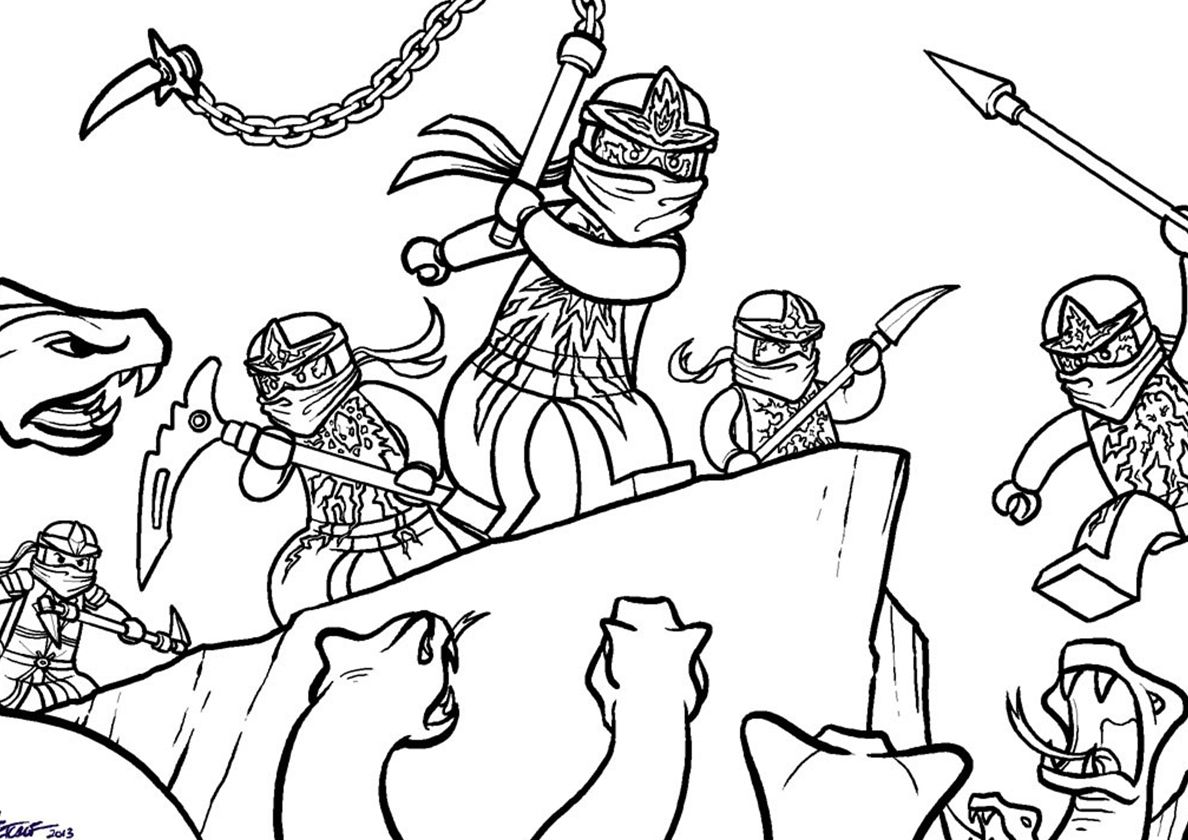 Battle With Snakes High Quality Free Coloring From The Category Lego Ninjago More Printable Pictur Ninjago Coloring Pages Snake Coloring Pages Lego Ninjago