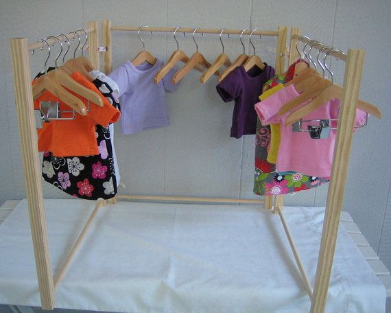 Doll Clothes Rack For 18 Inch And American Girl® Doll Clothes. Handmade  Wood Clothing Rack. Craft Show Display Rack