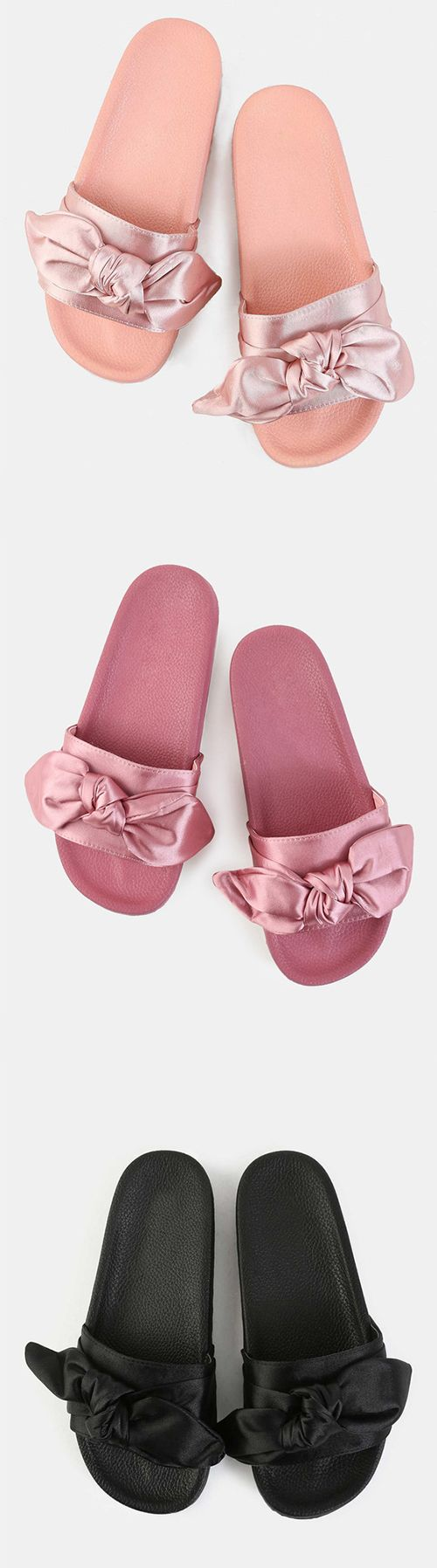 7c23ff525dc08c Look perfectly put together even on your casual days with the Bow Tie Satin  Slide Sandals