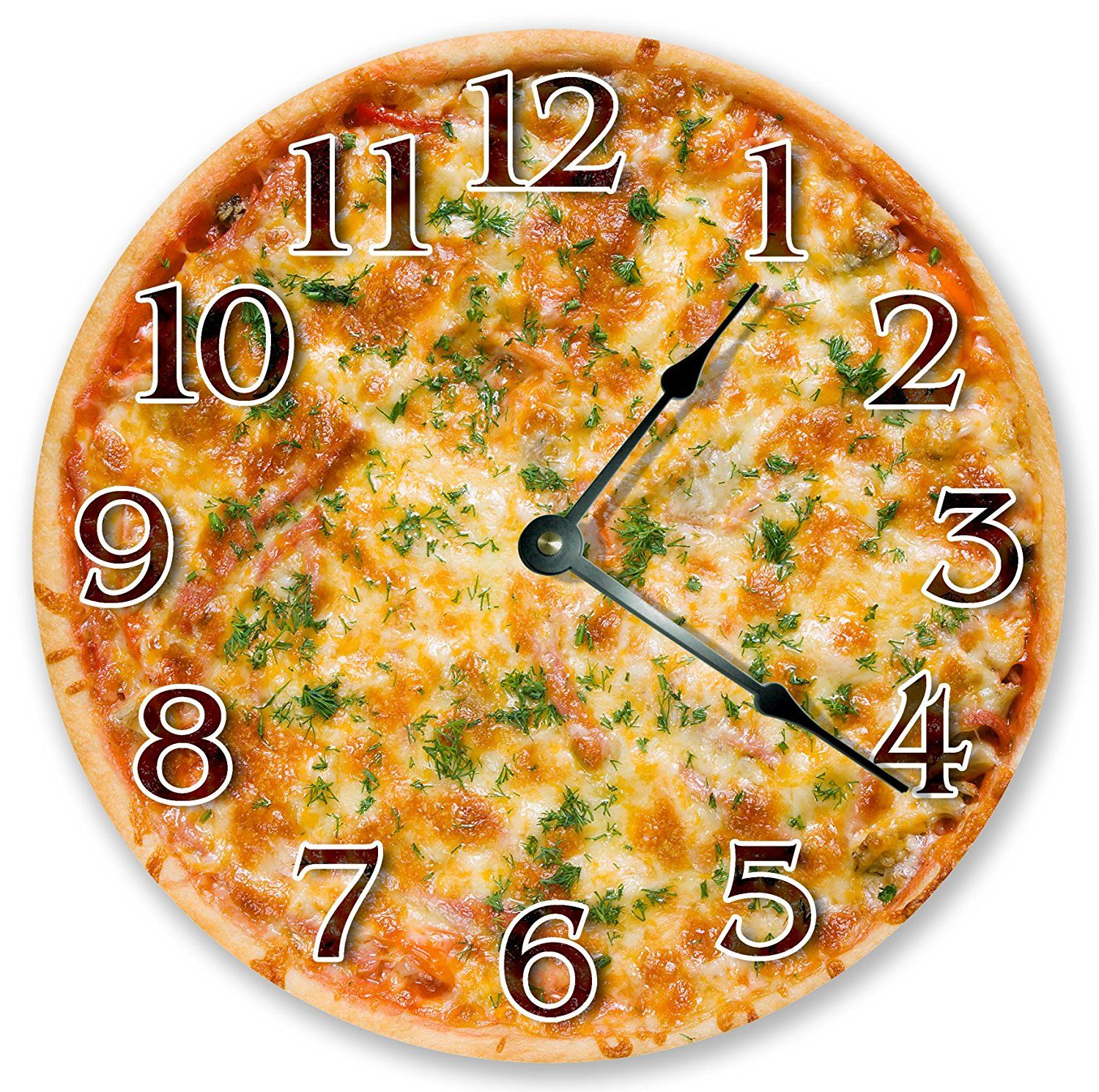 10.5\' CHEESY PIZZA CLOCK - Large 10.5\' Wall Clock - Home Décor Clock ...