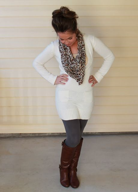 Fall Fashion Scarf Sweater Dress Leggings And Boots Okkkay In