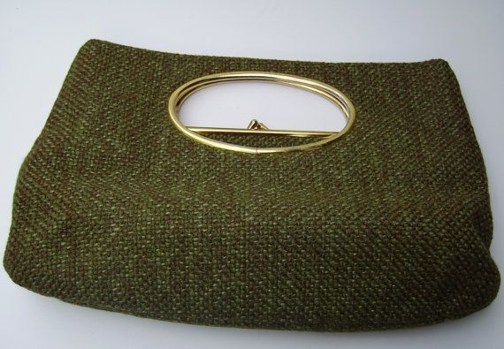 60s Architectural style Clutch Handbag with cutout handles.