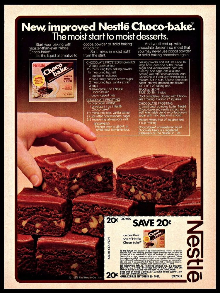 Details About 1981 Nestle Vintage PRINT AD Choco-bake