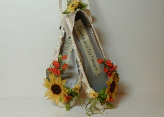 Sunflower Shoes Sunflower Bride Fall Bridal by lambsandivydesigns
