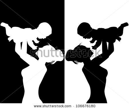 Black And White Silhouettes Of Mother And Child Stock Vector Mother And Child Baby Silhouette Silhouette