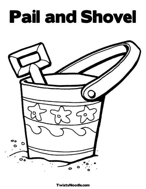 Coloring Book Vector Illustration Sand Bucket And Shovel Bucket