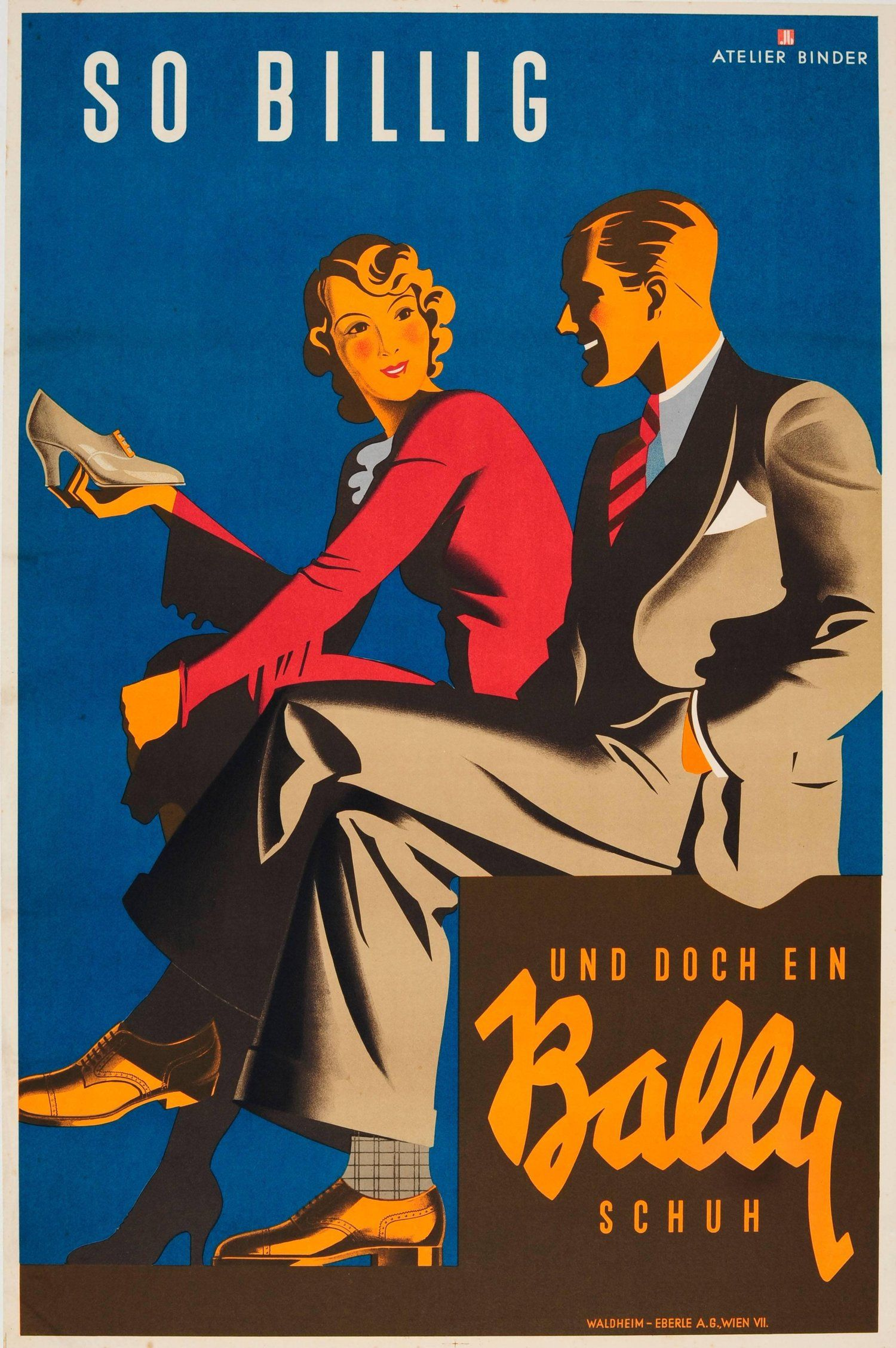 Original vintage art deco poster for bally shoes so cheap and yet a bally shoe