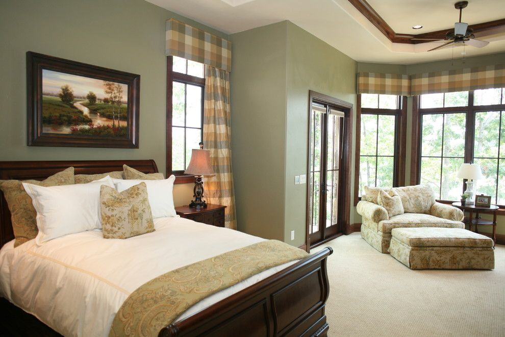 Design Ideas For A Traditional Bedroom With Green Walls Green