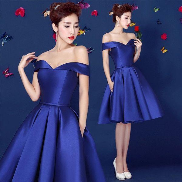 a333fbe30 Royal Blue satén corto vestido de fiesta Hombro-atado para arriba Cierre  Adolescentes gasa vestido semi formal del vestido por encargo